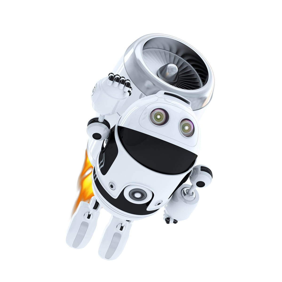 Image of robot with a rocket