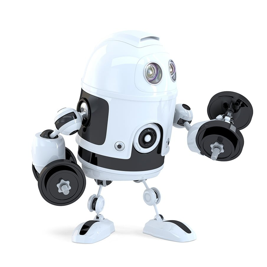 Image of robot lifting weights