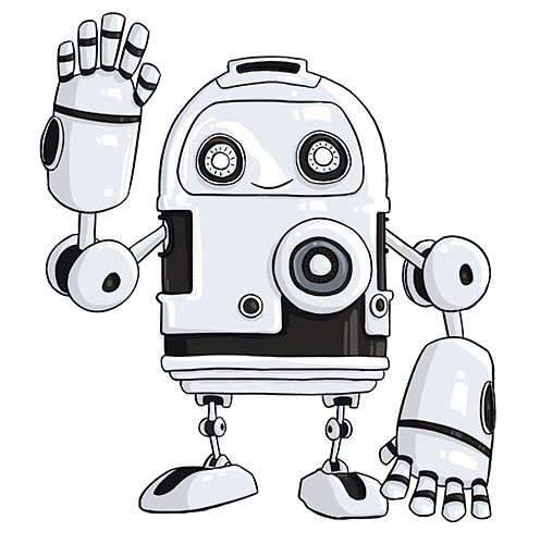 Photo of illustrated robot