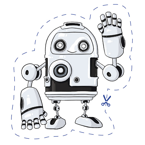 Photo of illustrated robot standing